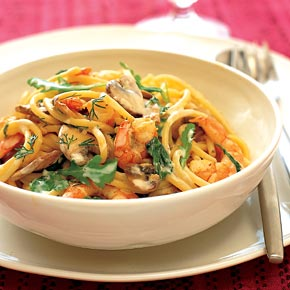 Weight Watchers Recipes: Prawn and mushroom pasta